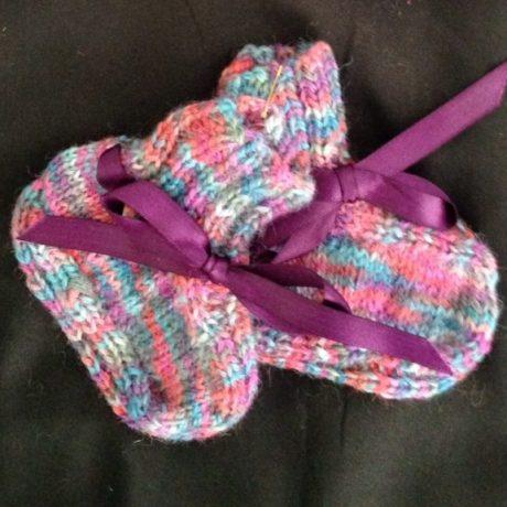 blue-pink rainbow booties & mittens