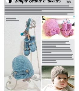 Beanie Bootie Baby Pattern. Easy versatile knitting