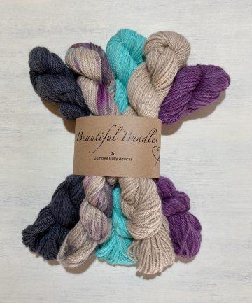 hand dyed rainbow beautiful bundle 8ply alpaca merino coloourway knitting