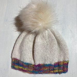 White/rainbow pom pom beanie